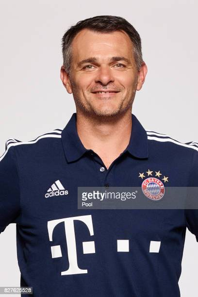 Assistant manager Willy Sagnol of FC Bayern Muenchen poses during the team presentation at Allianz Arena on August 8 2017 in Munich Germany