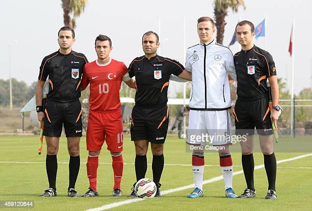 Assistant referee Abdullah Ugur Muhammed Samed Karakoc of Turkey referee Cihan Burgan Benedikt Gimber of Germany and assistant referee Serdar Soydan...