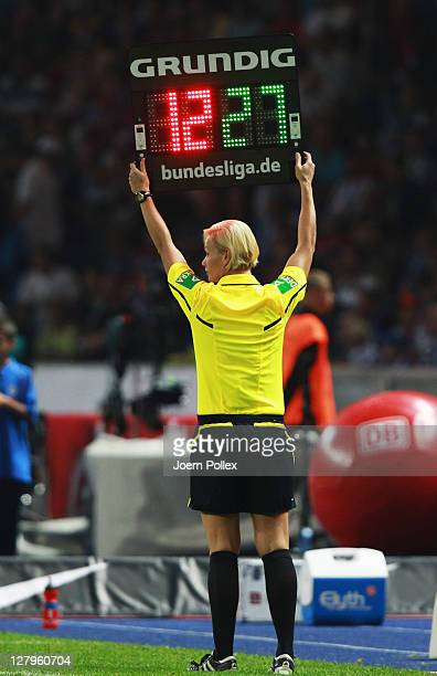 Assistant referee Bibiana Steinhaus is seen during the Bundesliga match between Hertha BSC Berlin and 1 FC Koeln at Olympic Stadium on October 1 2011...