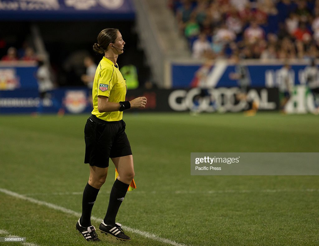 Assistant referee Kathryn Nesbitt during MLS game between New York Red Bulls Montreal Impact NYRB won 3 1