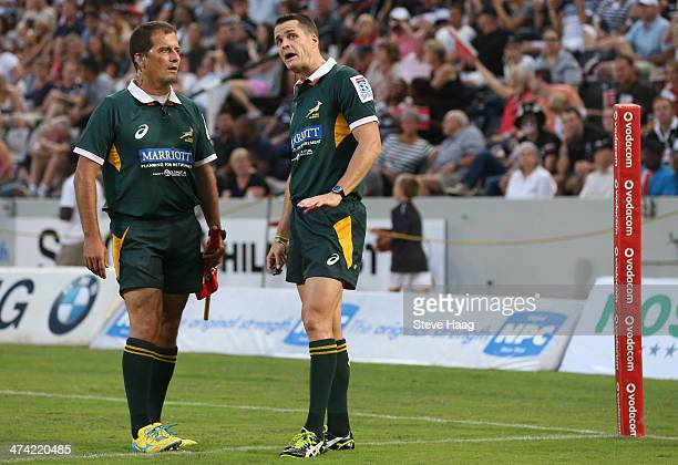 Assistant Referee Marius Jonker with Referee Andrew Lees during the Super Rugby match between Cell C Sharks and Hurricanes at GROWTHPOINT Kings Park...
