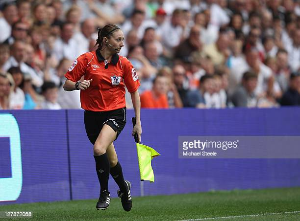 Assistant referee Sian Massey during the Barclays Premier League match between Swansea City and Stoke City at the Liberty Stadium on October 2 2011...