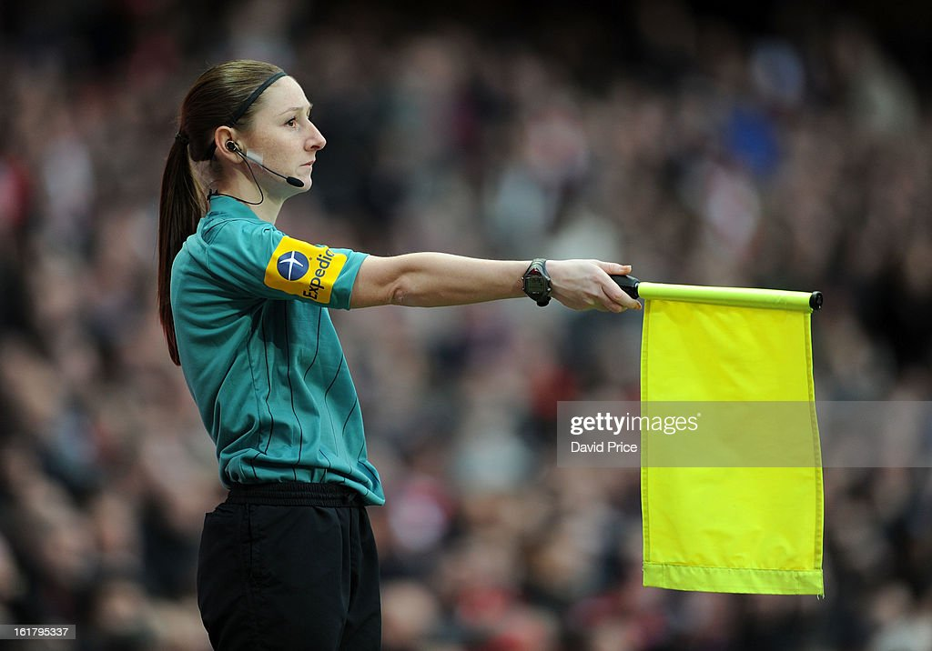 Assistant Referee <a gi-track='captionPersonalityLinkClicked' href=/galleries/search?phrase=Sian+Massey&family=editorial&specificpeople=6733765 ng-click='$event.stopPropagation()'>Sian Massey</a> during the FA Cup Fifth Round match between Arsenal and Blackburn Rovers at the Emirates Stadium on February 16, 2013 in London, England.