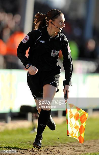 Assistant Referee Sian Massey in action during the Barclays Premier League match between Blackpool and Aston Villa at Bloomfield Road on February 12...