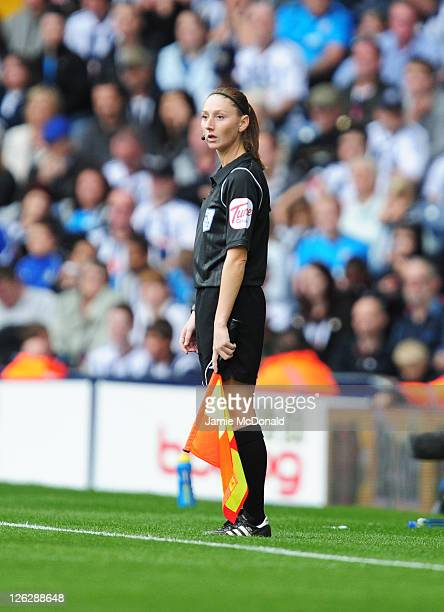 Assistant referee Sian Massey in action during the Barclays Premier League match between West Bromwich Albion and Fulham at the Hawthorns on...