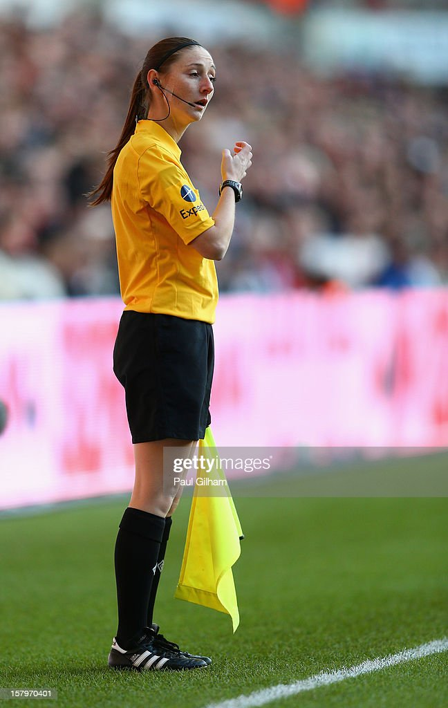 Assistant Referee <a gi-track='captionPersonalityLinkClicked' href=/galleries/search?phrase=Sian+Massey&family=editorial&specificpeople=6733765 ng-click='$event.stopPropagation()'>Sian Massey</a> in action during the Barclays Premier League match between Swansea City and Norwich City at the Liberty Stadium on December 8, 2012 in Swansea, Wales.