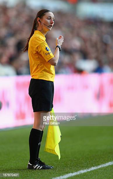 Assistant Referee Sian Massey in action during the Barclays Premier League match between Swansea City and Norwich City at the Liberty Stadium on...
