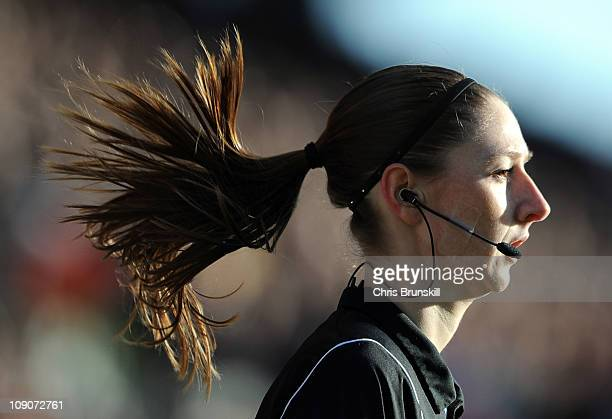 Assistant Referee Sian Massey looks on during the Barclays Premier League match between Blackpool and Aston Villa at Bloomfield Road on February 12...