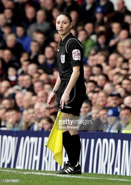 Assistant Referee Sian Massey looks on during the Barclays Premier League match between Everton and Fulham at Goodison Park on March 19 2011 in...