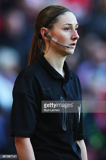 Assistant referee Sian Massey looks on during the Barclays Premier League match between Southampton and West Bromwich at St Mary's Stadium on January...