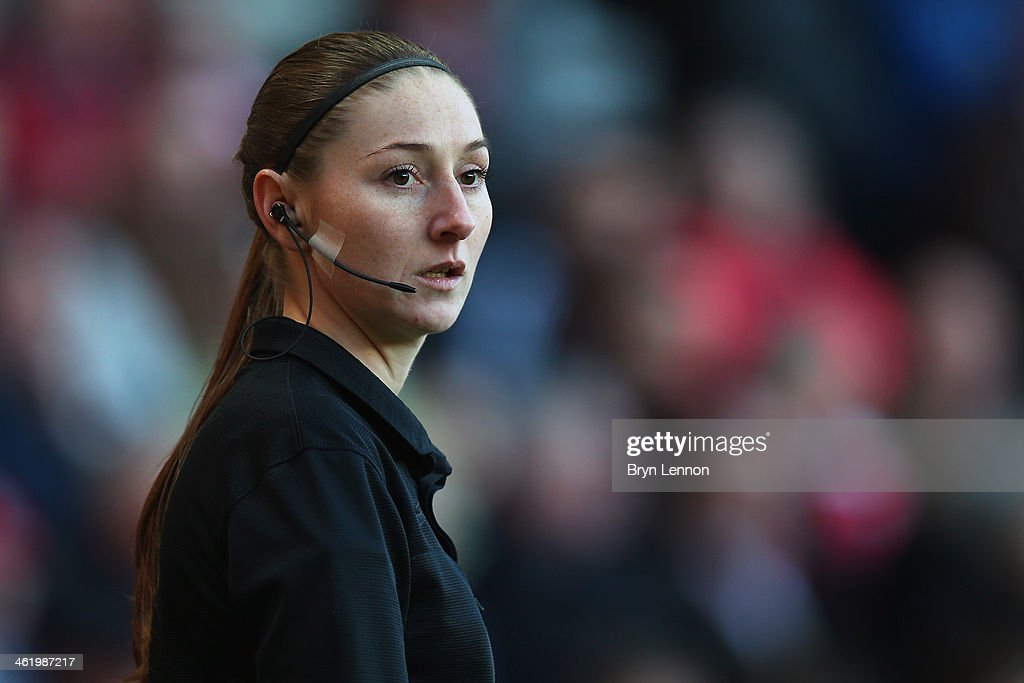 Assistant referee <a gi-track='captionPersonalityLinkClicked' href=/galleries/search?phrase=Sian+Massey&family=editorial&specificpeople=6733765 ng-click='$event.stopPropagation()'>Sian Massey</a> looks on during the Barclays Premier League match between Southampton and West Bromwich at St Mary's Stadium on January 11, 2014 in Southampton, England.