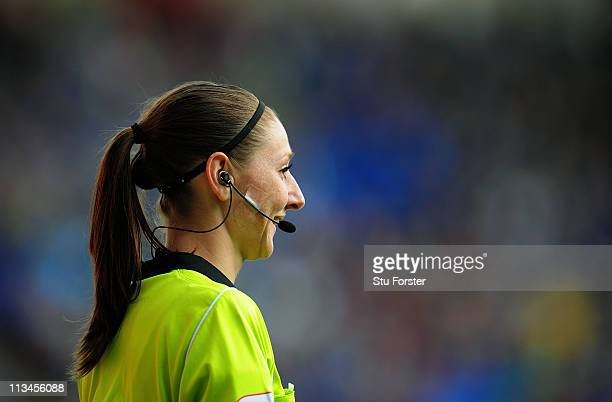 Assistant referee Sian Massey looks on during the npower Championship game between Cardiff City and Middlesbrough at Cardiff City Stadium on May 2...