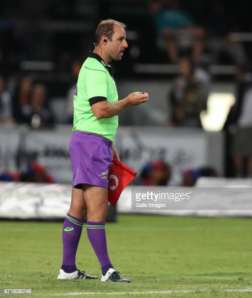 Assistant Referee Stuart Berry of South Africa during the Super Rugby match between Cell C Sharks and Rebels at Growthpoint Kings Park on April 22...