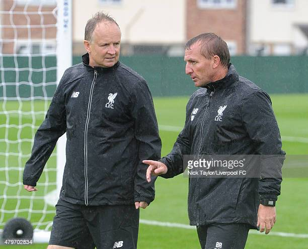 Assistant Sean O'Driscoll with manager Brendan Rodgers as Liverpool players return for preseason training at Melwood Training Ground on July 6 2015...
