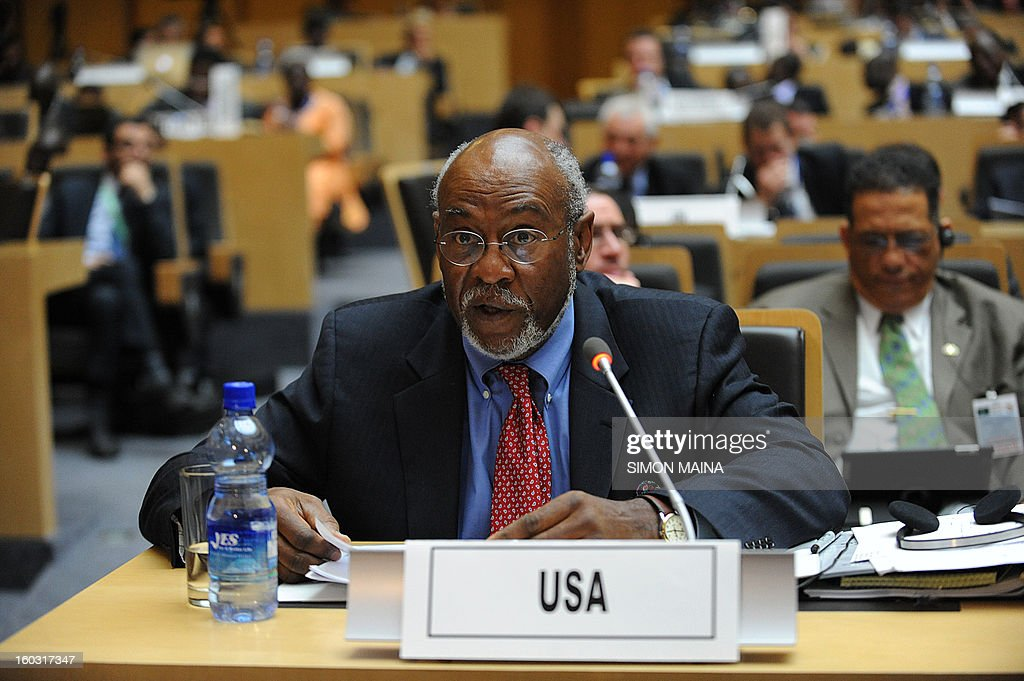 US Assistant Secretary for Africa Affairs Johnnie Carson speaks during the Donor Conference on Mali January 29, 2013 in Addis Ababa, Ethiopia. The However, there is no clear figure for how much the conference is aiming to raise, although diplomats had suggested some $700 million will be needed for AFISMA and the Malian army, in addition to heavy humanitarian costs,with some estimates reaching US$959 million. AFP PHOTO / SIMON MAINA