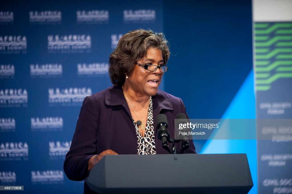 Assistant Secretary of African Affairs, Linda Thomas Greenfield, speaks at the Civil Society Forum at the National Academy of Sciences as part of the first U.S.-Africa Leaders Summit on August 4, 2014 in Washington, DC. The event is set to promote business relationships between the United States and African countries during the first-ever leaders summit, where 49 heads of state will be meeting in Washington over the next three days.