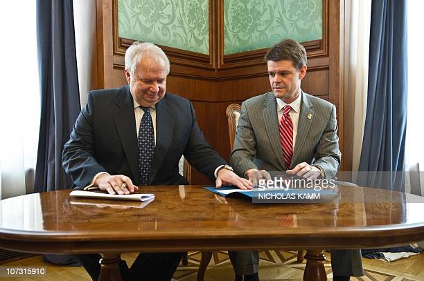 US Assistant Secretary of Homeland Security for US Immigration and Customs Enforcement John Morton and Russian Ambassador to the US Sergey Kislyak...