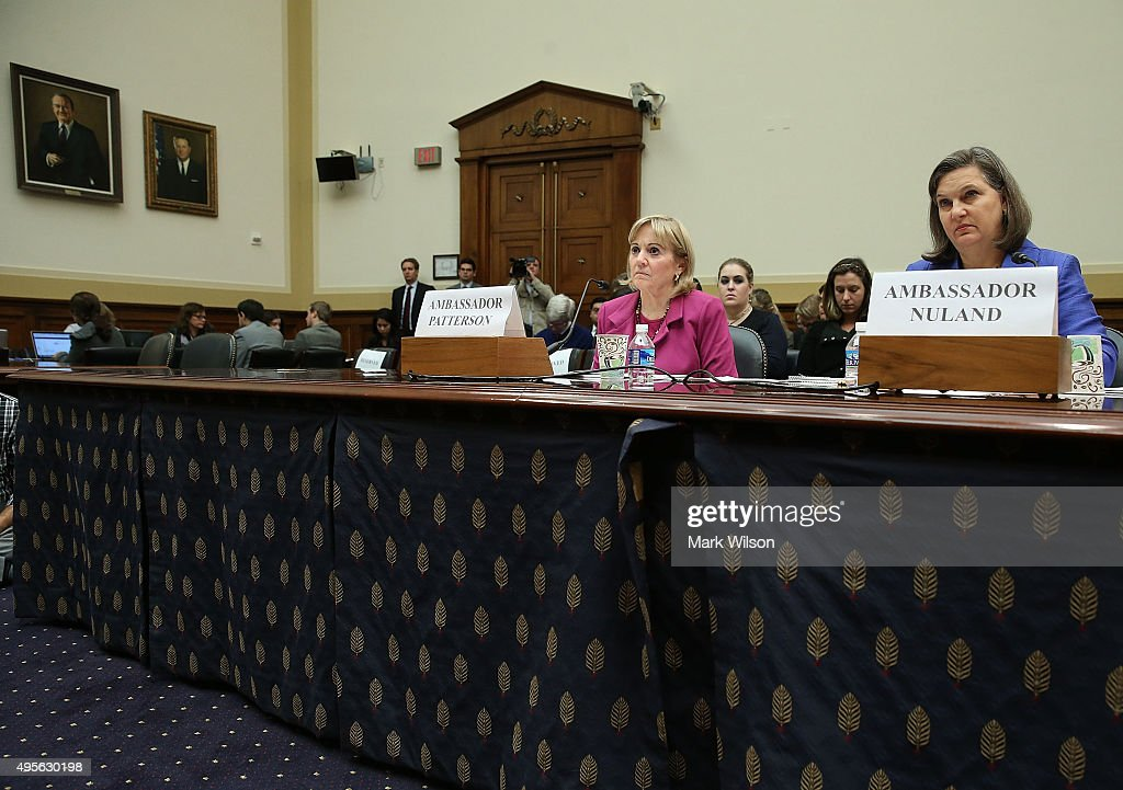 Assistant Secretary of State for Near Eastern Affairs, Anne Patterson (L), andÊAssistant Secretary of State for European and Eurasian Affairs ,Victoria Nuland (R) appearÊbefore theÊHouse Foreign Affairs Committee on Capitol Hill, November 4, 2015 in Washington, DC. The committee is hearing testimony from State DepartmentÊofficials onÊU.S. policy after Russia's escalation in Syria.