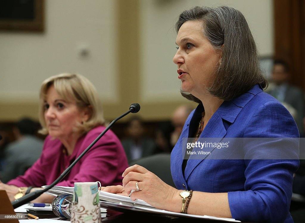 Assistant Secretary of State for Near Eastern Affairs, Anne Patterson (L), and Assistant Secretary of State for European and Eurasian Affairs ,Victoria Nuland (R) appearÊbefore theÊHouse Foreign Affairs Committee on Capitol Hill, November 4, 2015 in Washington, DC. The committee is hearing testimony from State DepartmentÊofficials onÊU.S. policy after Russia's escalation in Syria.
