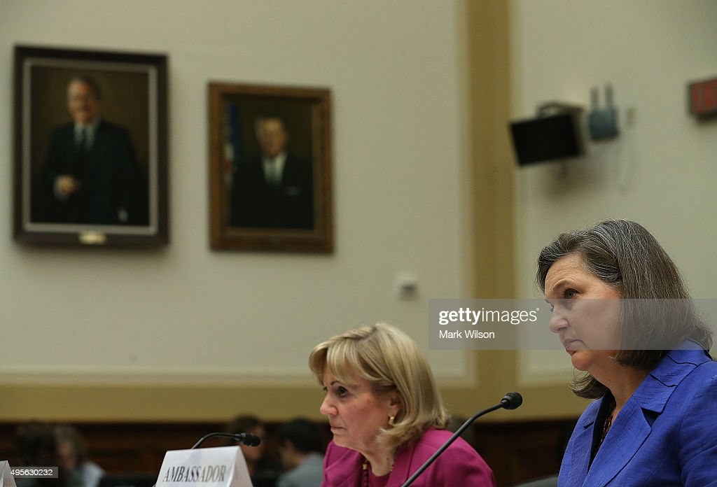 Assistant Secretary of State for Near Eastern Affairs, Anne Patterson (L), and Assistant Secretary of State for European and Eurasian Affairs ,Victoria Nuland (R) appear before the House Foreign Affairs Committee on Capitol Hill, November 4, 2015 in Washington, DC. The committee is hearing testimony from State DepartmentÊofficials onÊU.S. policy after Russia's escalation in Syria.