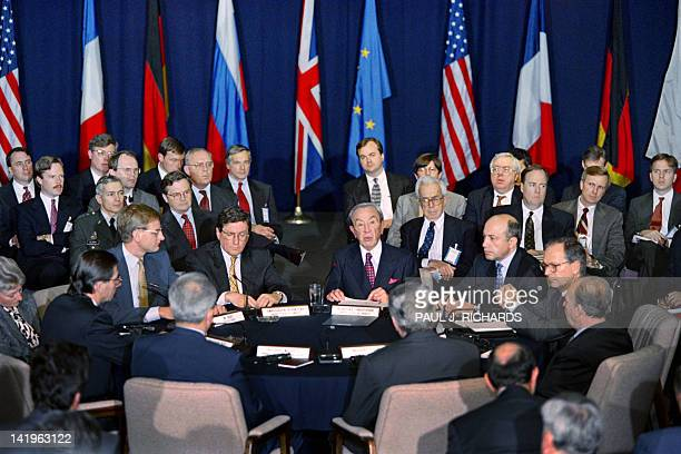 US Assistant Secretary of State Richard Holbrooke and US Secretary of State Warren Christopher and delegates attend the start of the Proximity Peace...
