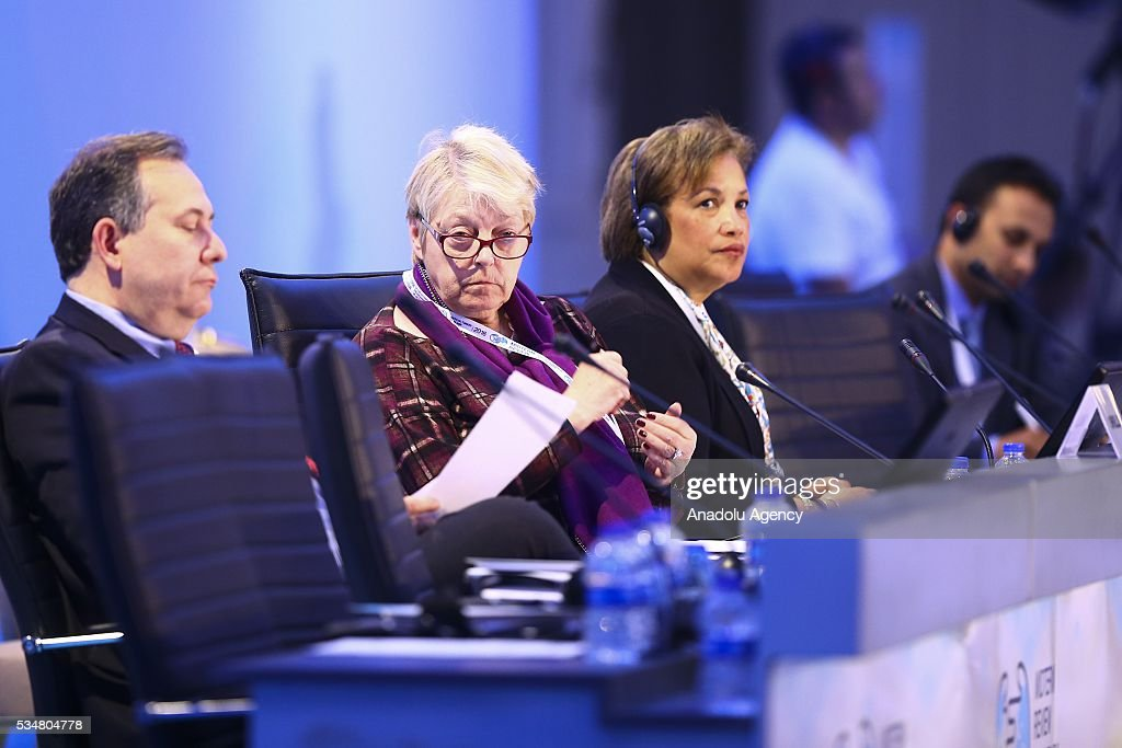 Assistant Secretary-General for General Assembly and Conference Management Catherine Pollard (3rd L) and Belgian Minister of State Annemie Neyts-Uyttebroeck (2nd L) attend the 3rd general session of the Midterm Review of the Istanbul Programme of Action is held at Titanic Hotel in Antalya, Turkey on May 28, 2016. The Midterm Review conference for the Istanbul Programme of Action for the Least Developed Countries takes place in Antalya, Turkey from 27-29 May 2016.