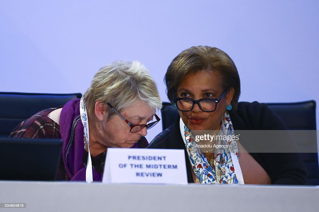 Assistant Secretary-General for General Assembly and Conference Management Catherine Pollard (R) and Belgian Minister of State Annemie Neyts-Uyttebroeck (L) attend the 3rd general session of the Midterm Review of the Istanbul Programme of Action is held at Titanic Hotel in Antalya, Turkey on May 28, 2016. The Midterm Review conference for the Istanbul Programme of Action for the Least Developed Countries takes place in Antalya, Turkey from 27-29 May 2016.