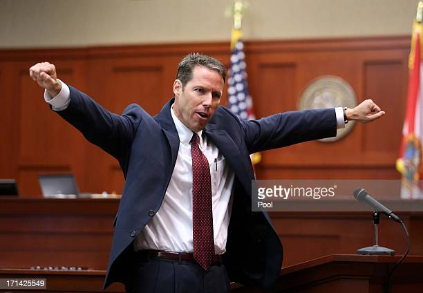 Assistant State Attorney John Guy gestures during his opening arguments in front of the jury in the George Zimmerman trial in Seminole circuit court...