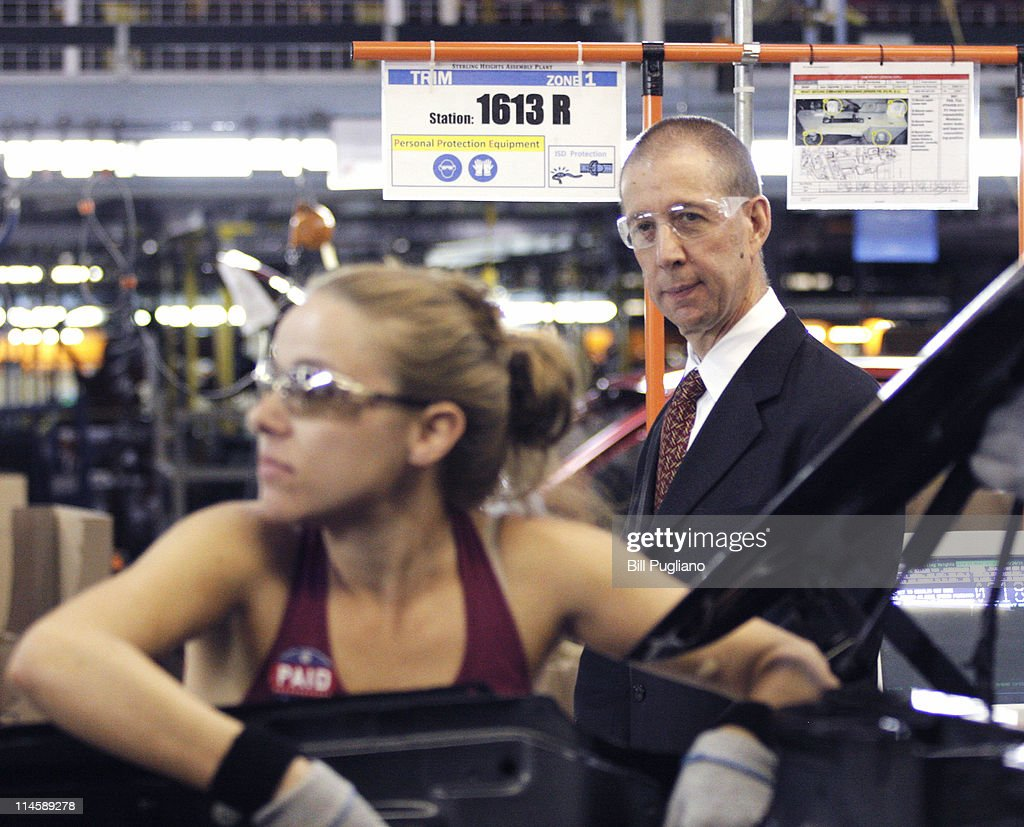 Assistant to President Barack Obama for Manufacturing Policy Ron Bloom watches a worker on the assembly line during a tour before the announcement of the repayment of the remaining $5.9 billion of Chrysler's $10.5 billion loan from the U.S. Government at the Sterling Heights Assembly Plant May 24, 2011 in Sterling Heights, Michigan. Chrysler Group is also retiring a $1.7 billion loan it received from the Canadian government.