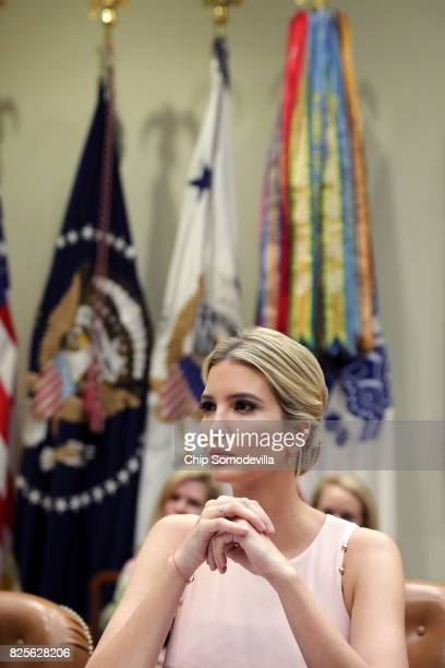 Assistant to the President and Donlad Trump's daughter Ivanka Trump hosts a listening session with military spouses in the Rooselvelt Room at the...