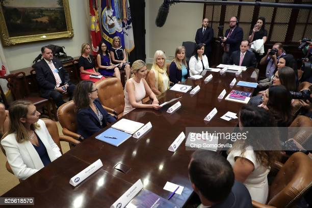 Assistant to the President and Donlad Trump's daughter Ivanka Trump delivers opening remarks while hosting a listening session with military spouses...