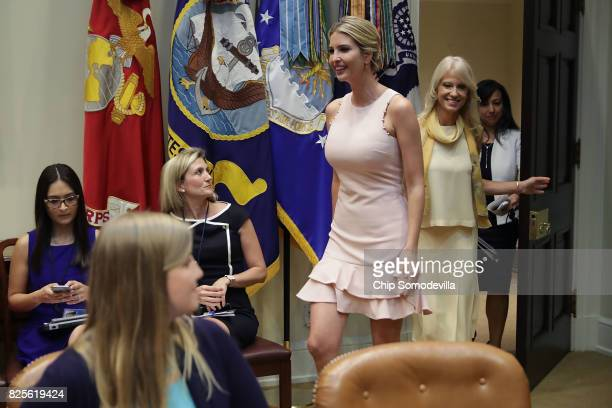 Assistant to the President and Donlad Trump's daughter Ivanka Trump and Counselor to the President Kellyanne Conway arrive for a listening session...