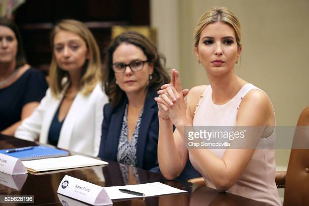 Assistant to the President and Donlad Trump's daughter Ivanka Trump delivers opening remarks during a listening session with military spouses Karla...