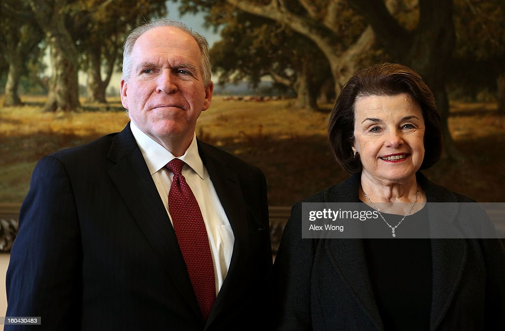 Assistant to the President for Homeland Security and Counterterrorism John Brennan (L), U.S. President Barack Obama's nominee to be CIA director, meets with U.S. Senate Select Committee on Intelligence Chairman <a gi-track='captionPersonalityLinkClicked' href=/galleries/search?phrase=Dianne+Feinstein&family=editorial&specificpeople=214078 ng-click='$event.stopPropagation()'>Dianne Feinstein</a> (D-CA) at Feinstein's office at Hart Senate Office Building January 31, 2013 on Capitol Hill in Washington, DC. Brennan met with Feinstein who will hold a hearing to start the confirmation process of Brennan's nomination.