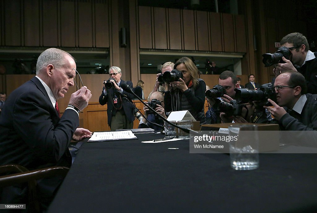 U.S. Assistant to the President for Homeland Security and Counterterrorism John Brennan, nominated by U.S. President Barack Obama to be the next Director of the Central Intelligence Agency, resumes his testiomony before the Senate Intelligence Committee after a disruption by anti-war protesters February 7, 2013 in Washington, DC. Brennan was expected to face sharp questioning on the U.S. military drone program in addition to questions about his nomination to head the CIA.