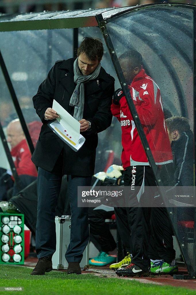 assistant trainer Dennis Haar of AZ, Willie Overtoom of AZ during the Dutch Eredivisie match between AZ Alkmaar and FC Groningen at the AFAS Stadium on february 2, 2013 in Alkmaar, The Netherlands