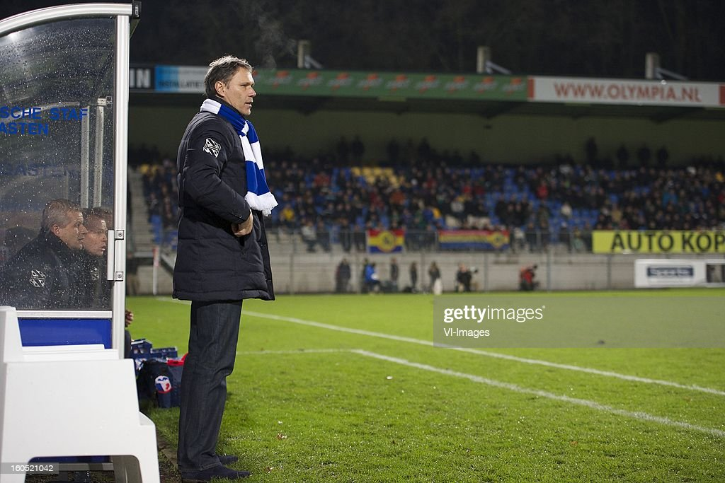 assistant trainer Henk Hender of Heerenveen, assistant trainer Tieme Klompe of Heerenveen, coach Marco van Basten of Heerenveen during the Dutch Eredivisie match between RKC Waalwijk and SC Heerenveen at the Mandemakers Stadium on february 1, 2013 in Waalwijk, The Netherlands