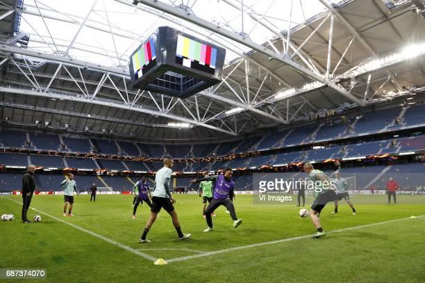 assistant trainer Hennie Spijkerman of Ajax Lasse Schone of Ajax Bertrand Traore of Ajax Hakim Ziyech of Ajax Kenny Tete of Ajax coach Peter Bosz of...