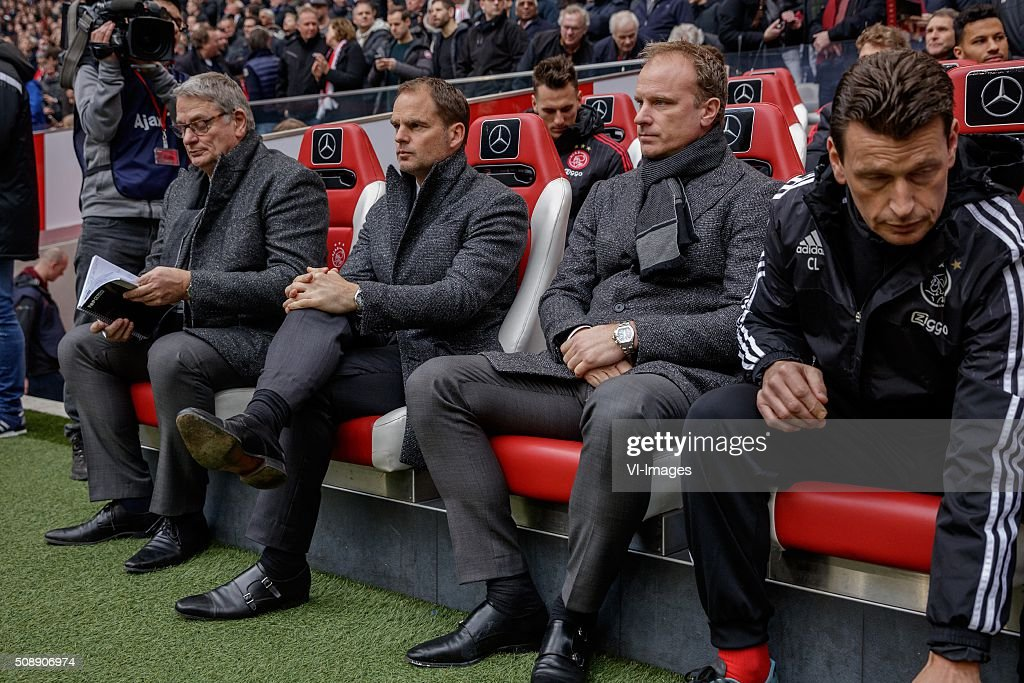 assistant trainer Henny Spijkerman of Ajax, coach Frank de Boer of Ajax, assistant trainer Dennis Bergkamp of Ajax during the Dutch Eredivisie match between Ajax Amsterdam and Feyenoord Rotterdam at the Amsterdam Arena on February 07, 2016 in Amsterdam, The Netherlands