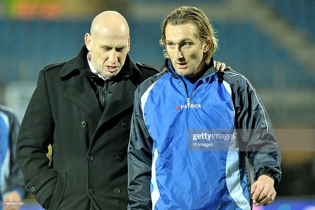 assistant trainer Jaap Stam, Joost Broerse of PEC Zwolle during the Dutch Cup match between PEC Zwolle and Heracles Almelo at the IJsseldelta Stadium on january 30, 2013 in Zwolle, The Netherlands