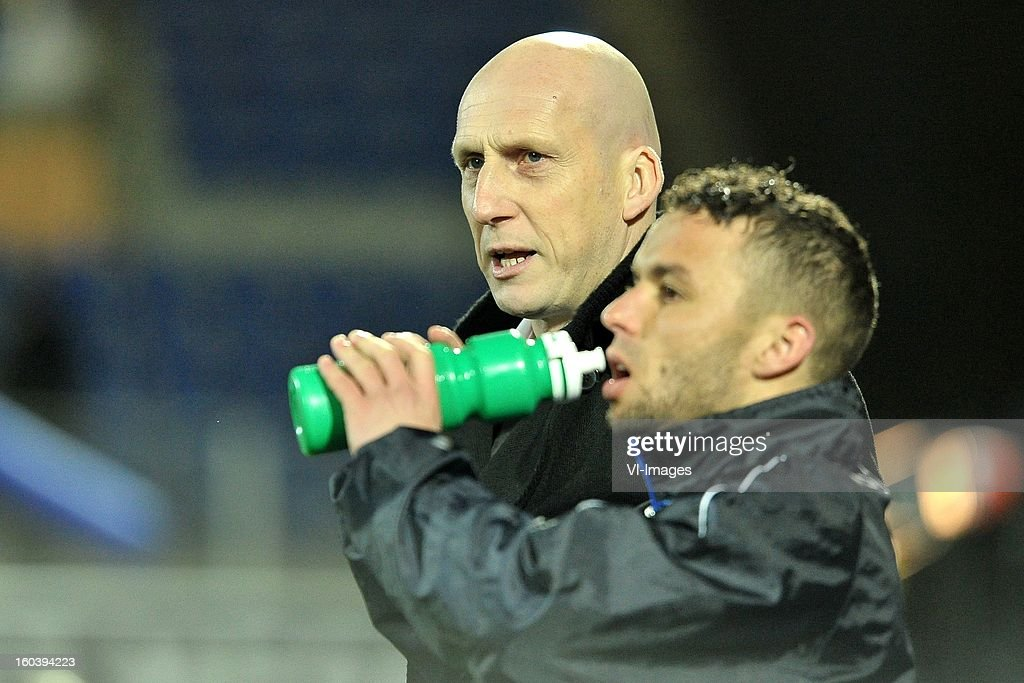 assistant trainer Jaap Stam, Rochdi Achenteh of PEC Zwolle during the Dutch Cup match between PEC Zwolle and Heracles Almelo at the IJsseldelta Stadium on january 30, 2013 in Zwolle, The Netherlands