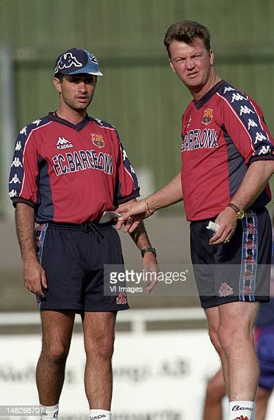 assistant trainer Jose Mourinho Coach Louis van Gaal of Barcelona during the season 1997/1998 in Barcelona Spain