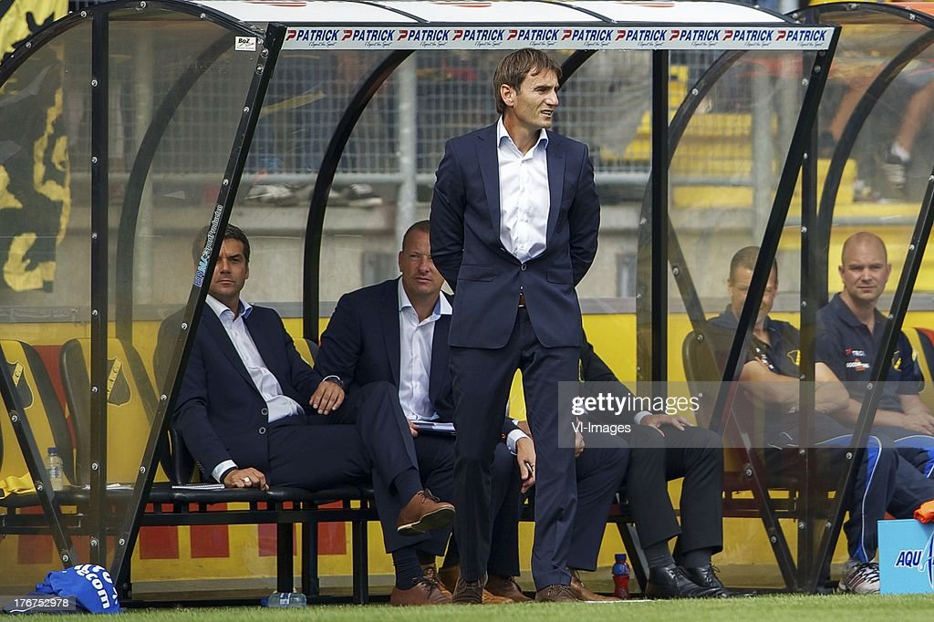 assistant trainer Marino Pusic of NAC Breda, assistant trainer Arno van Zwam of NAC Breda, coach Nebojsa Gudelj of NAC Breda during the Dutch Eredivisie match between NAC Breda and ADO Den Haag on August 18, 2013 at the Rat Verlegh stadium in Breda, The Netherlands.