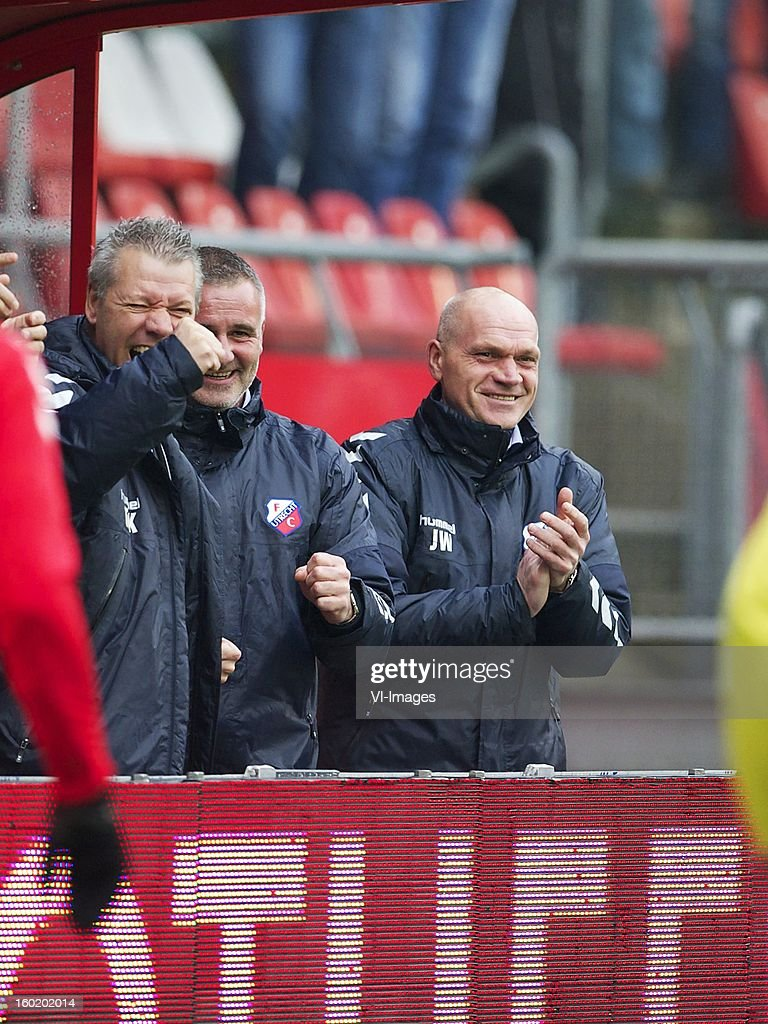 assistant trainer Robby Alflen of FC Utrecht, coach Jan Wouters of FC Utrecht during the Dutch Eredivise match between FC Utrecht and Willem II at the Galgenwaard Stadium on January 27, 2013 in Utrecht, The Netherlands.