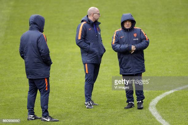 assistant trainer Ruud Gullit of Holland assistant trainer Fred Grim of Holland coach Dick Advocaat of Holland during a training session prior to the...