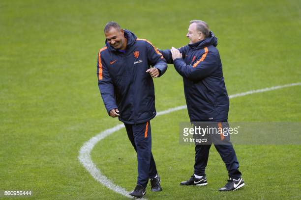 assistant trainer Ruud Gullit of Holland coach Dick Advocaat of Holland during a training session prior to the FIFA World Cup 2018 qualifying match...