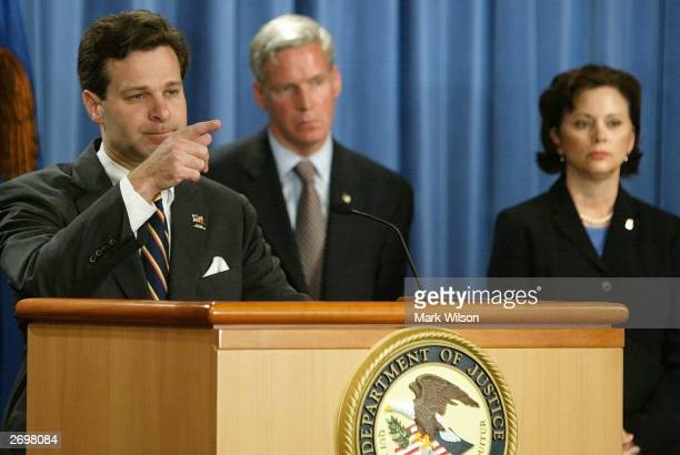 Assistant US Attorney General Christopher Wray Marc Everson IRS Commissioner and Alice Martin US Attorney for the Northern District of Alabama speak...