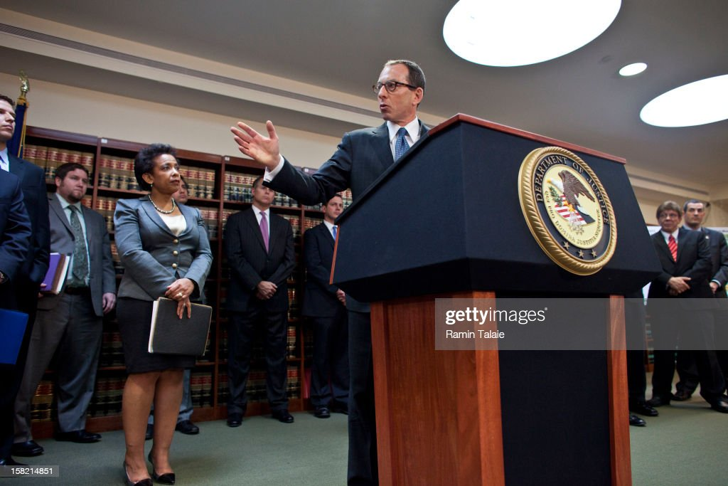Assistant US Attorney General <a gi-track='captionPersonalityLinkClicked' href=/galleries/search?phrase=Lanny+Breuer&family=editorial&specificpeople=2591883 ng-click='$event.stopPropagation()'>Lanny Breuer</a> speaks during a news conference to announce money laundering charges against HSBC on December 11, 2012 in the Brooklyn borough of New York City. HSBC Holdings plc and HSBC USA NA have agreed to pay $1.92 billion and enter into a deferred prosecution agreement with the U.S. Department of Justice in regards to charges involving money laundering with Mexican drug cartels.