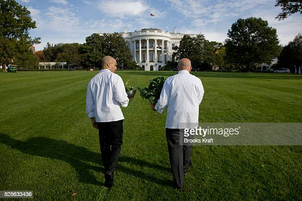 Assistant White House Chef Sam Kass and Pastry Chef Bill Yosses walk back to the White House after working in the Kitchen Garden located on the South...