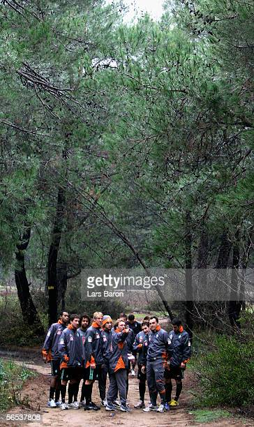 AssistantCoach Matthias Hoenerbach gives instructions before a run through the forest during the Werder Bremen Training Camp on January 7 2006 in...